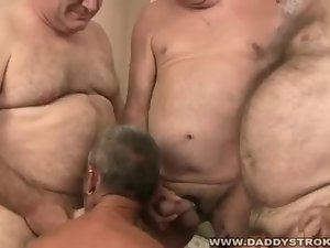 Group of Daddies Caressing and Fellatio Each Other