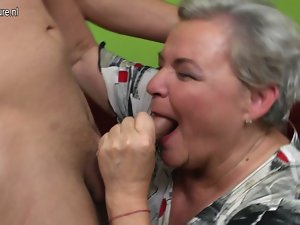 Wild big grandma having sex with her 19yo lad