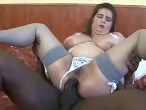 Buxom fatty with a BBC in quim and butt