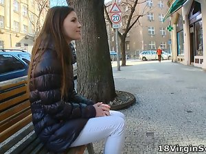 Marina waits for her man on the park bench
