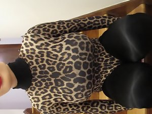 crossdresser leopard leotard black tights