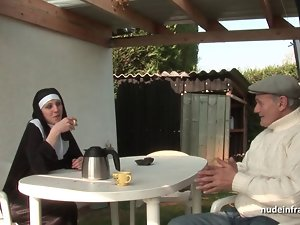 18yo french nun sodomized in crazy threesome action with Papy Voyeur