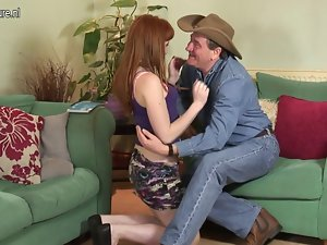 Red daughter shagging a obscene aged cowboy