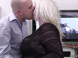He fucks plumper tempting blonde at work