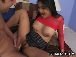 Dirty ass screwed chesty Asian chick gets banged brutal