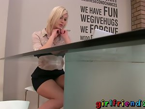 Partners Tempting blonde stunner stops work for some solo young lady fun