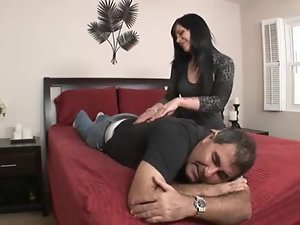 Andy San Dimas Makes Her Cuckold Lick Up Spunk
