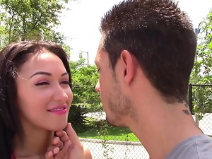 Adorable Latina gets her mouth wrapped around a large prick