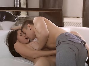 A sensual seductive teen wants to be shagged on the bed absolutely badly