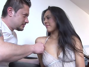 A Latina with long hair and a sensual butt is getting hammered