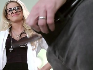 A blondie with glasses is getting screwed brutal by her patient