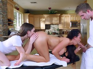 Female and young lady perfectly work in a team servicing long dick