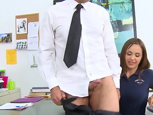 Big titted honey is getting cum on her large knockers on the school desk