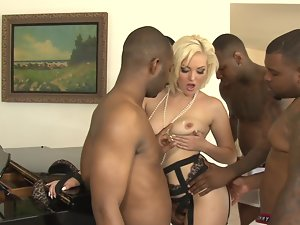 Jenna Ivory gangbanged by a group of four attractive black chaps