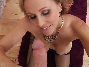 A mommy with a luscious round dirty ass is getting cum in her sensual mouth