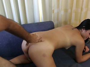A colombian female with a sensual butt is getting hammered on the sofa