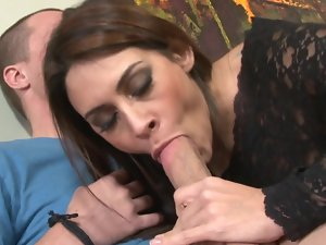 Bewitching pornactress gives best dick sucking and gets sexy fanny drilled