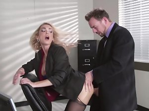 Attractive boss with a huge dong wants to bang his whorish secretary