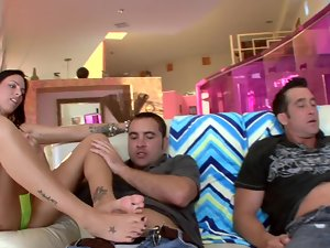 Four people get together to make a group sex video as they hump