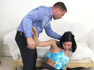 Dude pushes his penis into the raunchy ladies mouth for a blow job