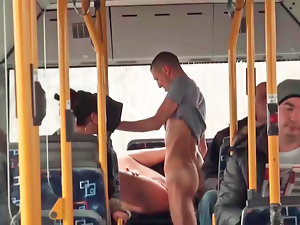 Asshole sex is happening in the bus next to some people