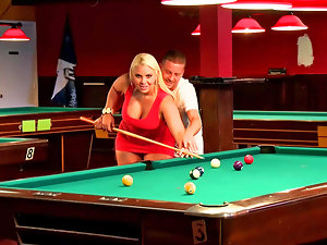 Curvy light-haired whore grinded on the pool table so well