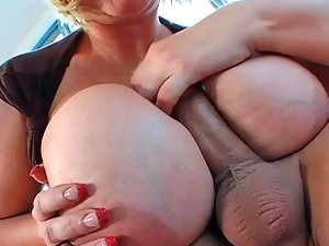 Chesty blondy Samantha 38G slurps and rides a enormous pecker