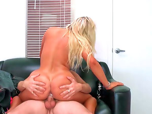 Enchanting tempting blonde bombshell Cameron Dee slides her twat down a solid cock