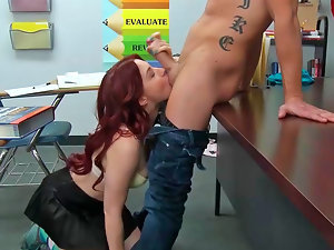 Jessica Ryan performing oral and getting plowed by her teacher