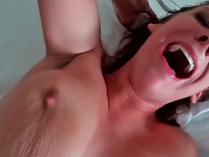 Alora James screaming like wild while being drilled really deeply