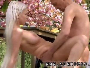 Dreamy tempting blonde cutie gets screwed by an older wrinkly dude