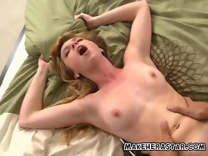 Taylor is on her back taking his xxl huge cock from the front