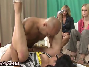 Cfnm amateur gets screwed as the cute chicks watch