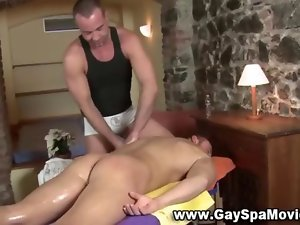 Amateur stud rubbed down in a seedy spa