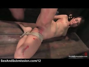 Bound dark haired zipped and whipped and waxed by master