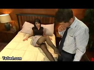 Eva Lin gives foot job in job review in hotel