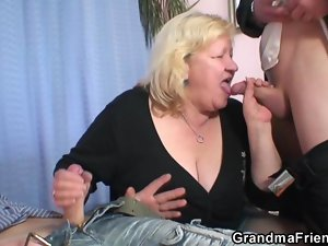 Grandma shallows two dicks then screws