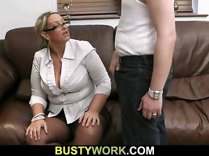 Obese salesgirl is boned from behind
