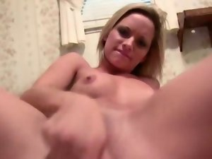 Whorish point of view tempting blonde uses toys