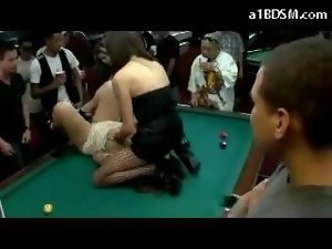Slave Slutty chicks On Her Knees Fellatio Shaft Getting Fingered In Public In The Pool Room