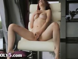 Redhead love new fake penis on the armchair video
