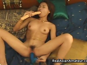 Asian amateur bombshell fake penis banging her film