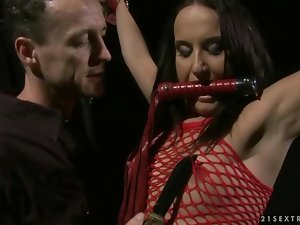 Sensual dark haired getting punished