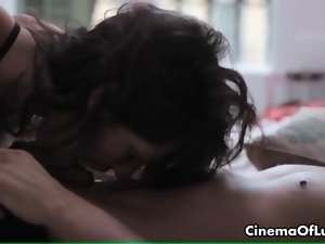 Sexual dark haired babe loves fellatio movie