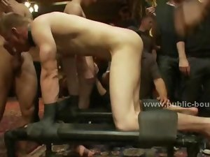 Gay fellow humiliation in fetish gangbang with mouth banging while tied upside down