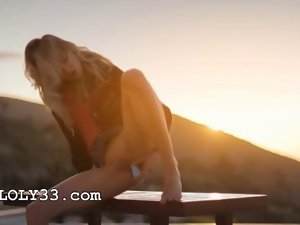 Blond wench francesca during sunset video