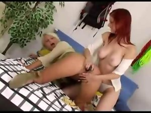 Alluring lezzies caressing sexy fanny masturbation