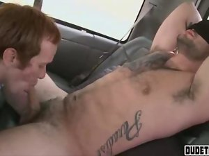 Fist pumping jock gets a dick sucking he didnt expect