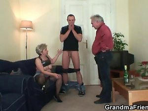 Filthy granny accepts two phalluses at once