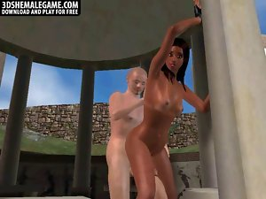 Lewd 3D cartoon lustful ebony shemale honey gets screwed